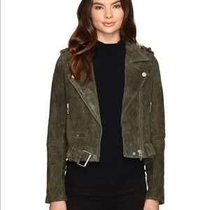 Blank NYC Olive Green Suede Moto Jacket, Large